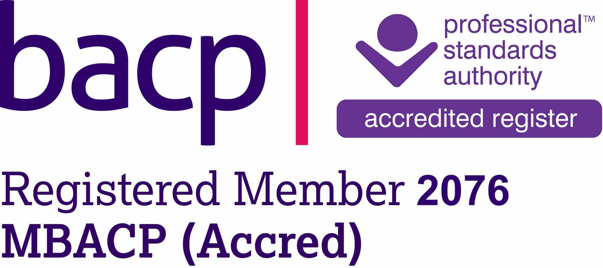 BACP logo with individual accreditation reference number
